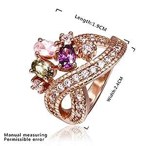 DUMAN 18 K chapado en oro rosa con cristales de Swarovski Multi-color Wave anillo líneas, tamaño Q