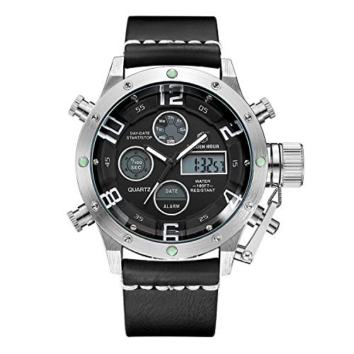 - Tamlee Dual Time Multifunction Digital Analog Leather Sport Watches for Men Waterproof Army Style Silver Black