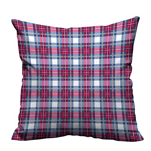 YouXianHome Sofa Waist Cushion Cover Tartan Pattern with Trendy Geometric Contrasts Picnic Style Design Dark Blue Hot Pink Decorative for Kids Adults(Double-Sided Printing) 16x16 inch