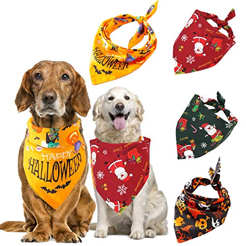 Skeleton Bandana Halloween (Mowane Halloween Christmas Dog Bandanas, Bulk Cute Pet Scarf for Cat with Pumpkin Bats Spider Orange Black Red Green, Puppy Neckerchief for Large Midium Small Dog Pack of 4 (Halloween)