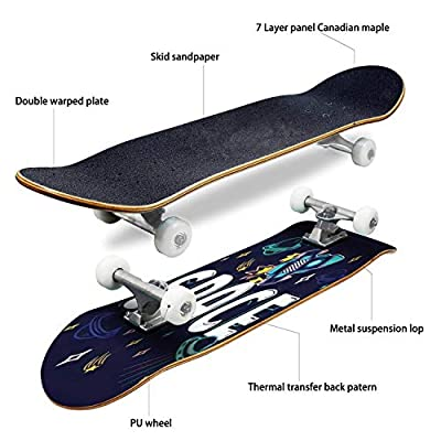 Classic Concave Skateboard Colorful Cartoon Sketch Style Print with Spaceship UFO Planets Stars Longboard Maple Deck Extreme Sports and Outdoors Double Kick Trick for Beginners and Professionals : Sports & Outdoors