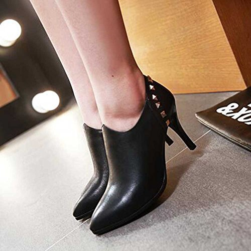 CHFSO Womens Trendy Stiletto Rivet Solid Pointed Toe Zipper High Heel Ankle Boots Black M4kvtmqaIL