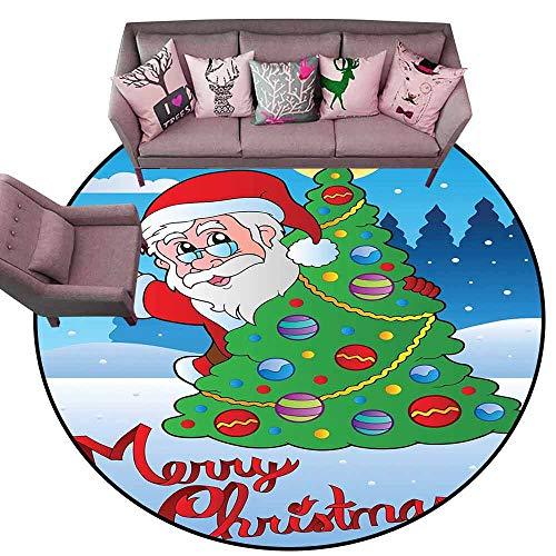 (Bathroom Rug Kitchen Carpet Santa,Santa Claus Waving Hello Behind a Colorful Festive Xmas Pine Tree in Snowy Forest,Multicolor Diameter 48