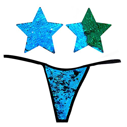 Neva Nude Naughty Knix Seahawks Flip Sequin G-String Thong with Matching Nipztix Pasties Blue Green ()