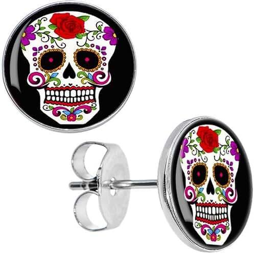 Body Candy Stainless Steel White Sugar Skull Stud Earrings