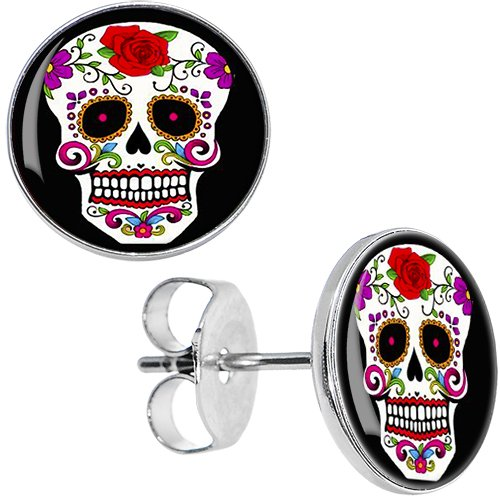 Body Candy Stainless Steel White Sugar Skull Stud Earrings