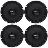 (4) PowerBass XPRO Midrange Driver, 8-Ohm Speakers Totaling 2000 Watt Designed to Reproduce Your Music Loud and Clear
