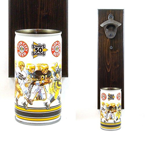 Wall Mounted Iron City Beer Bottle Opener With A Vintage Pittsburgh Steelers 50th Anniversary Beer Can Cap Catcher
