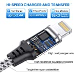IWAVION-Cavo-Lightning3-Pezzi-1M-Nylon-Intrecciato-Cavo-iPhone-USB-di-Sincronizzazione-e-Cavo-di-Caricabatterie-per-iPhone-XSXS-MaxXRX88-Plus77-Plus6s6s-Plus66-Plus5s5-iPadiPod-argento