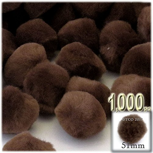 The Crafts Outlet 1,000-Piece Multi purpose Pom Poms, Acrylic, 51mm/about 2.0-inch, round, Coffee Brown by The Crafts Outlet
