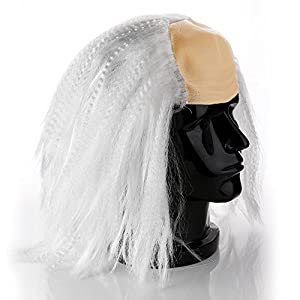 Bald Cap With White Wig For Kids Old Man Ben Franklin Mad Scientist Halloween Costume