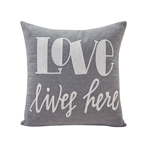 Danya B Gray Love Lives Here Linen Embroidered Decorative Toss Throw Accent Pillow