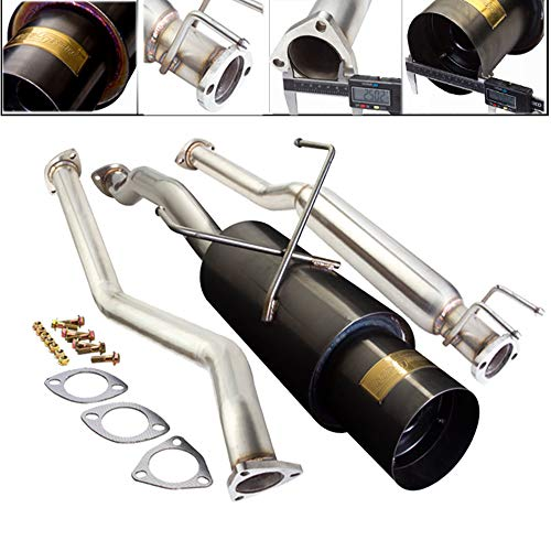 Fit 2001-2005 Honda Civic (EX Model Only) 2.5 Inch Stainless Steel Catback Exhaust System 4.5 Inch Gun Metal Muffler Tip