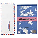 JAM Paper Airmail Stationery Set - Small - 22 Onion Skin Paper Sheets (6'' x 9'') & 25 Envelopes (4 1/8'' x 9 1/2 '')