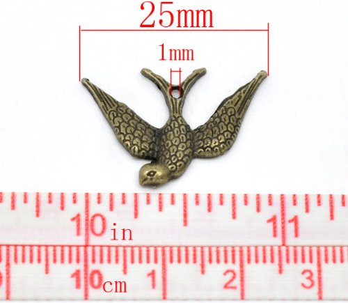 PEPPERLONELY Brand 50 Piece Antique Bronze Swallow Charms Pendants 25x17mm( 1 x 5/8 Inch)