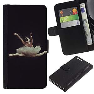 Planetar® Modelo colorido cuero carpeta tirón caso cubierta piel Holster Funda protección Para Apple (5.5 inches!!!) iPhone 6+ Plus ( Dance Ballet Dancer Black Woman )