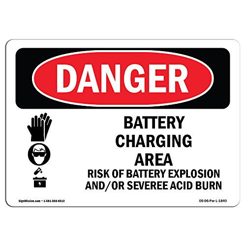 OSHA Danger Sign - Battery Charging Area Risks   Vinyl Label Decal   Protect Your Business, Construction Site, Warehouse & Shop Area   Made in The USA