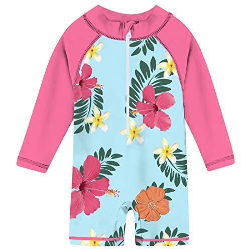 - Uideazone Little Baby Girls Long Sleeve Sunsuit UPF 50+ Rash Guard Swimsuit Aqua Flower One Piece Swimwear Beachwear 24-36 Months