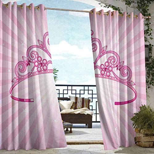 (DILITECK Drape for Pergola Curtain Kids Beautiful Pink Fairy Princess Costume Print Crown with Diamond Image Art Waterproof Patio Door Panel W108 xL72)