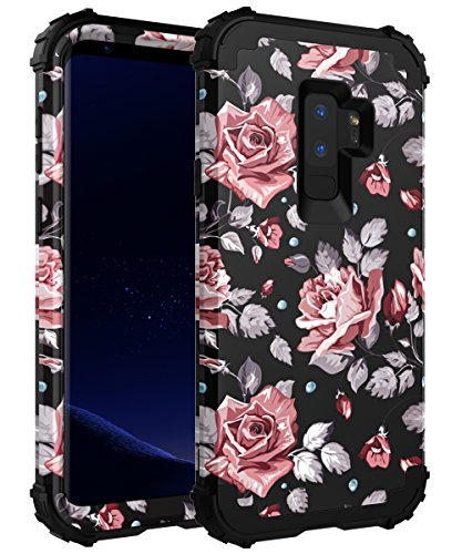 OBBCase Galaxy S9 Plus Case,Galaxy S9 Plus Floral Case,3 in 1 Heavy Duty Hybrid Silicone + Hard PC Sturdy Cover High Impact Resistant Protective Case for Samsung Galaxy S9 Plus Rose Flower Black
