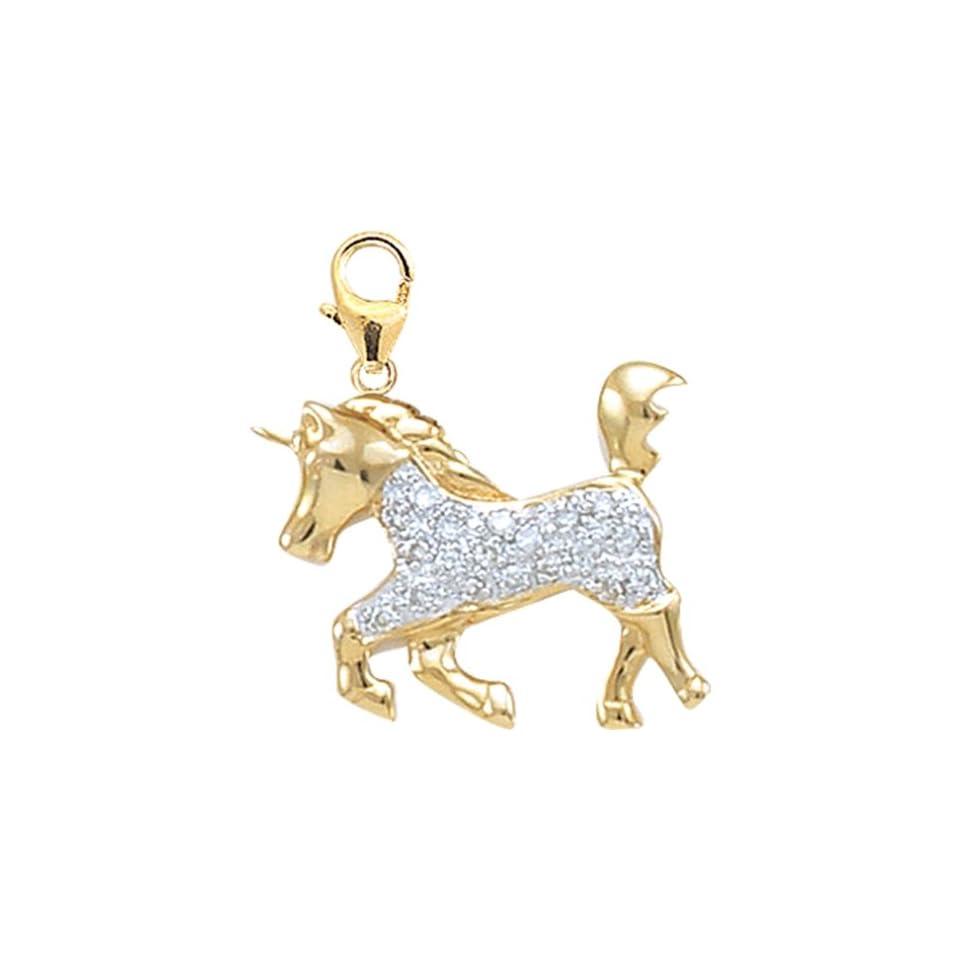 14K Yellow Gold Diamond Unicorn Charm