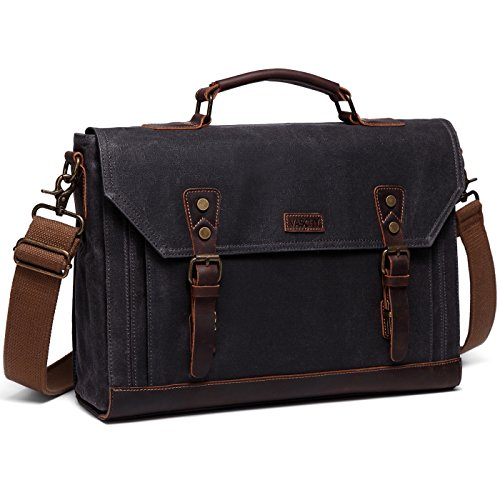 17 inch Laptop Messenger Bag,Vaschy Vintage Waxed Canvas Leather Water Resistant Mens Satchel Briefcase Bag Business Shoulder Bag Gray