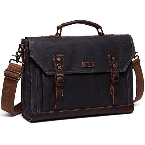17 inch Laptop Messenger Bag,Vaschy Vintage Waxed Canvas Leather Water Resistant Mens Satchel Briefcase Bag Business Shoulder Bag Gray (Flap Pocket Briefcase)