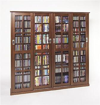 Leslie Dame 4 Door Glass CD/DVD Wall Rack Media Storage   Dark Cherry
