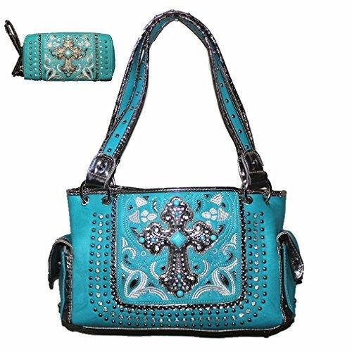 Rhinestone Cross Leather Women's Handbag Purse Wallet Matching Set 8624 in Black Pink and Turq (8624 Turq Handbag)
