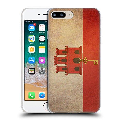 Gibraltar Cases (Head Case Designs Gibraltar Gibraltarian Vintage Flags Set 6 Soft Gel Case for iPhone 7 Plus/iPhone 8 Plus)