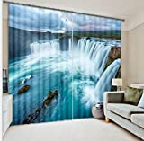 Cheap LB Teen Kids Room Darkening Blackout Curtains,Surging Waterfall Nature Landscape 3D Effect Print Window Treatment Curtains Living Room Bedroom Window Drapes 2 Panels Set,28 in Width by 65 inch Length