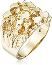 Men's 14k Solid Yellow Gold Nugget Diamond-Cut Ring, Siz