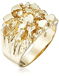 Men's 14k Solid Yellow Gold Nugget Diamond-Cut Ring, Size 10