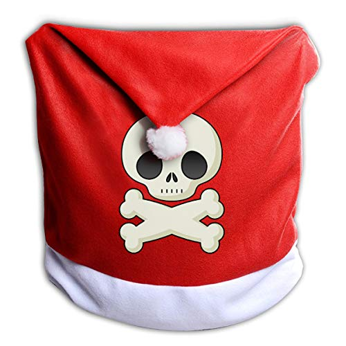 FUNMAX Halloween Skeleton Clipart Cute Non-Woven Xmas Christmas Themed Dinner Chair Cap Hat Covers Set Ornaments Backers Protector for Seat Slipcovers Wraps Coverings Decorations