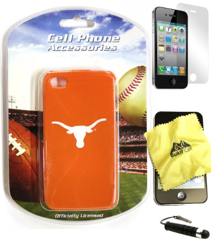 Bukit Cell ® Team Bundle - 4 Items: NCAA Texas LONGHORNS Officially Licensed Hard SNAP ON Protector Case Cover for Apple iPhone 4S / 4G / 4 (Fits any carrier) + Bukit Cell ® Cleaning Cloth + Screen Protector + Metallic Stylus Touch Pen with Anti Dust Plug (Mlb Pen Kit)