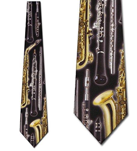 mens-black-with-gold-wind-instruments-musical-music-necktie-tie-neckwear