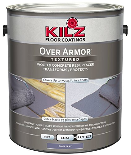 KILZ Over Armor Textured Wood/Concrete Coating, 1 gallon, Slate Gray (Best Deck Over Paint)