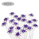 TQWY Lovely Charm 20pcs Wedding Bridal Party Diamante and White Faux Prom Pearl Flower Rhinestone Crystal Hair Pins Clips Grips Pins Hairpins Bridesmaid Clips ( D purple)