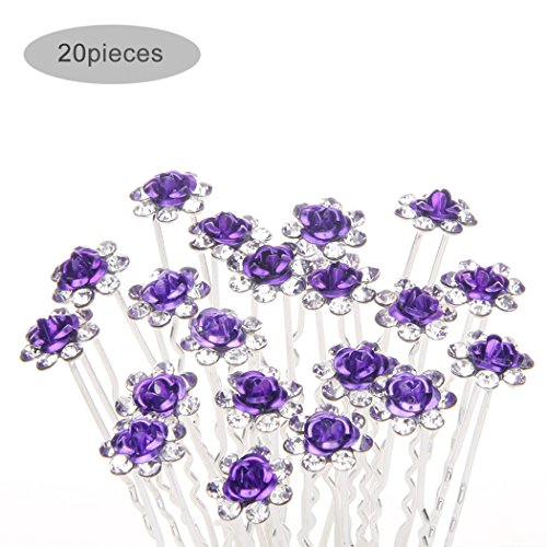 TQWY Lovely Charm 20pcs Wedding Bridal Party Diamante and White Faux Prom Pearl Flower Rhinestone Crystal Hair Pins Clips Grips Pins Hairpins Bridesmaid Clips (D purple)