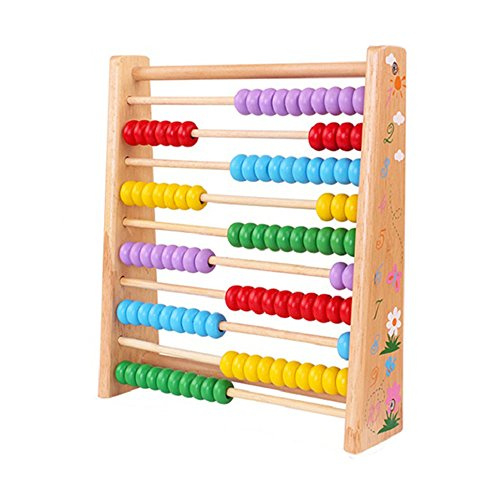 Classic Wooden Educational Counting Toy With 100 Beads For Kids Boys Girls,Kids Activity Garden Kitchen Playset for Early Childhood Preschool Training Counting Number Frame Math Abacus Montesorri (Row Counting Frame)