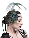 Zivyes 1920s Accessories Peacock Feather Headband Women's Costume Headwear Hat Accessories Flapper Wedding Headpiece