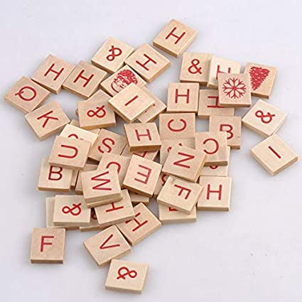 Hot 100 Wooden Alphabet Scrabble Tiles Color de madera natural Letras y números para manualidades Madera MT1411: Amazon.es: Belleza