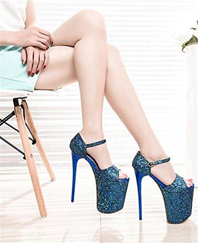 Talon 41 forme Taille eu41 Aiguille Paillettes Et Soirée Open Xie Des 35 Femmes Pompes À Blue Pour Fête Plate Club Chaussures Sandales Toe wOqSTpRI