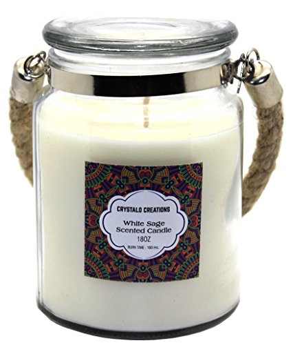Crystalo Creations White Sage Scented Candle with Rope Handle, 18 Ounce