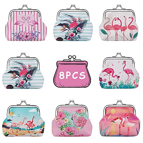 BAOQISHAN 8PCS Lovely Flamingos Kids Coin Purse Clutch Pouch Birthday Party Favors Goodie Bag Fillers Presents