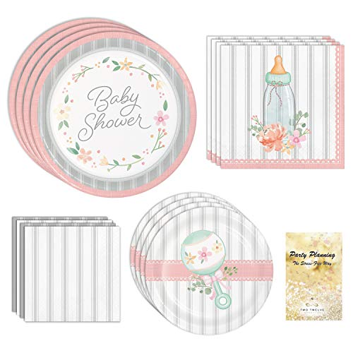 Baby Shower Supplies, Farmhouse Floral Design, 16 Guests, 64 Pieces, Disposable Paper Dinnerware Plates and Napkins
