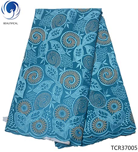 Lace - Swiss Voile lace Fabrics African Swiss Laces Fabric French Dry Laces Dress for Women 5yards/lot TCR370 - (Color: TCR37003)