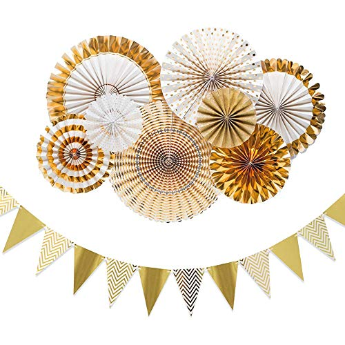 (Stechop Paper Flower Fan Banner Set Gold Wall Decorations Backdrop - Birthday Wedding Bridal Baby Shower Party Decorations Supplies)