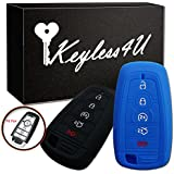 2Pcs Keyless4U Silicone Key Fob Full Protector Cover Case Remote Jacket for 2018 Edge Explorer 2017 Ford Fusion F250 F350 F450 F550 5 Buttons Smart Key (Black Blue)