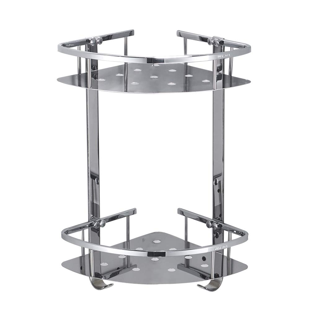 BESy Shower Corner Caddy Bathroom Shelf Floating , No Drilling with Glue or Wall Mounted with Screws,Heavy Duty and SUS304 Stainless Steel 2 tiers Storage Shelves Triangle Basket with Hooks,Chrome